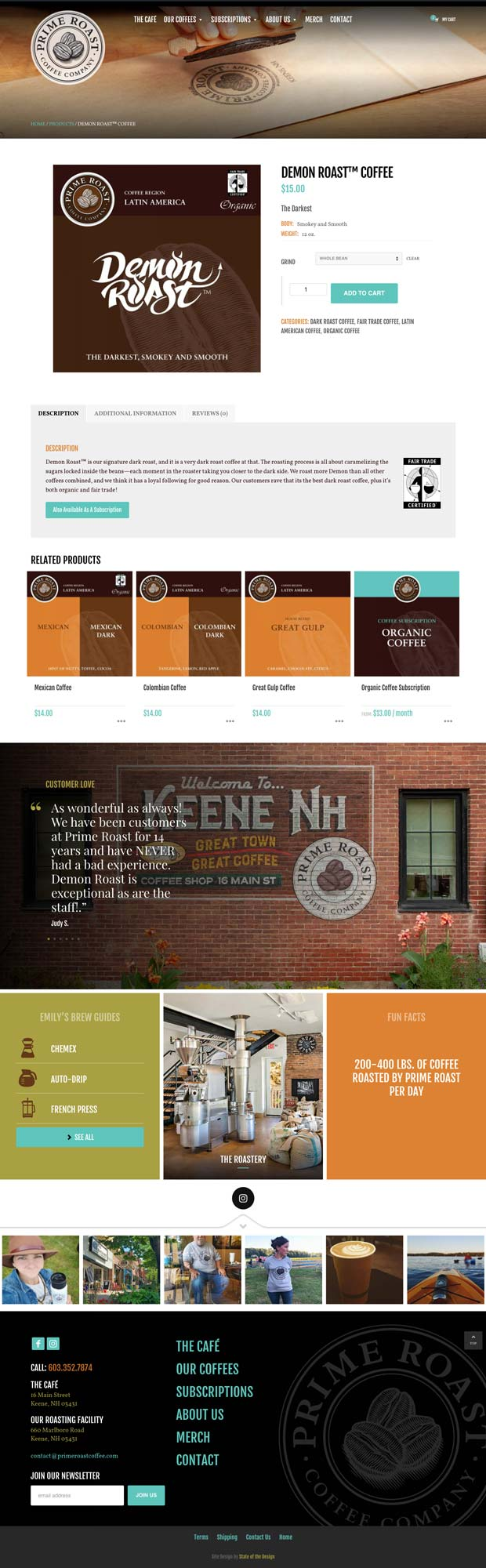Prime Roast Coffee Product Page Design