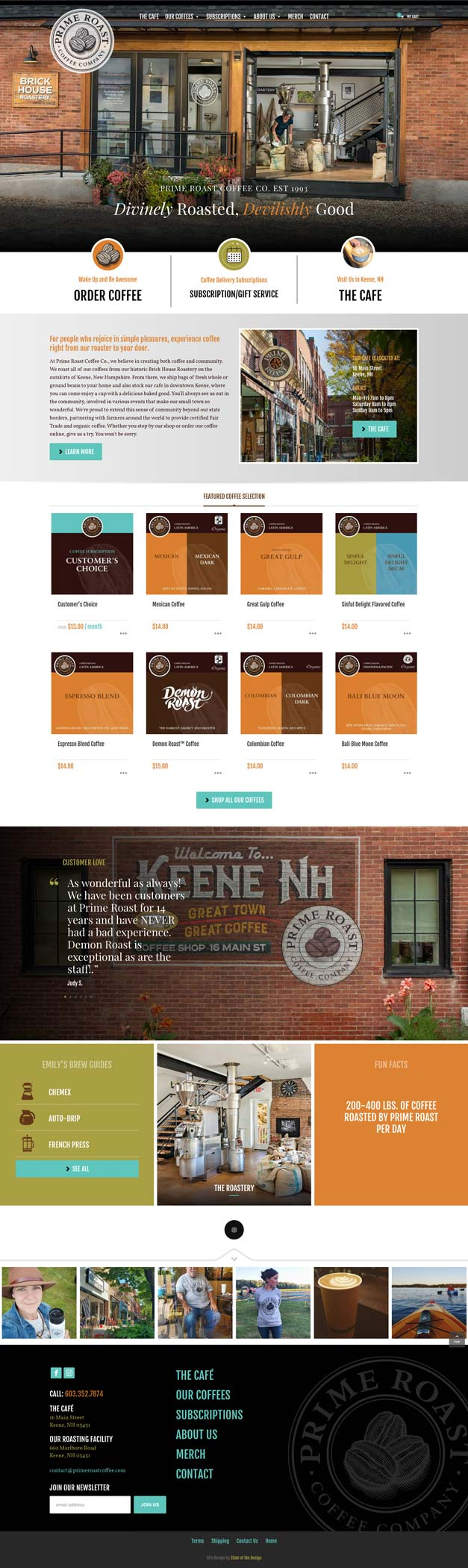Prime Roast Coffee Website Homepage Design