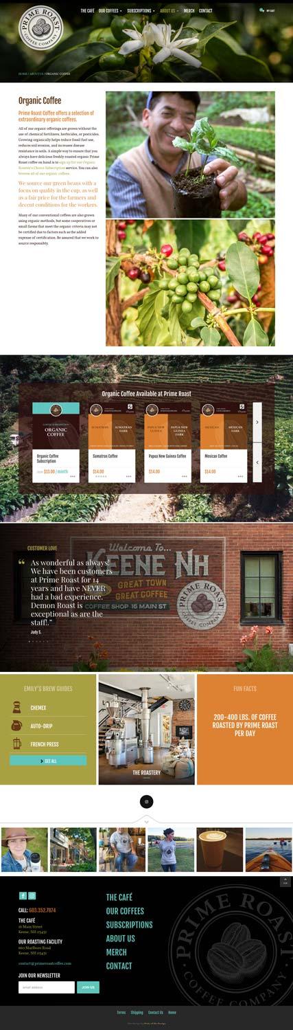 Prime Roast Coffee Organic Coffee Webpage Design